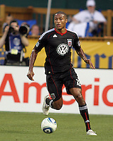 Jordan Graye #16 of D.C. United during an MLS match against the Los Angeles Galaxy at RFK Stadium on July 18 2010, in Washington D.C. Galaxy won 2-1.