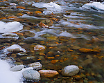 Okanogan National Forest, WA<br /> Detail of ice and open water flowing on the Lost River, Methow Valley