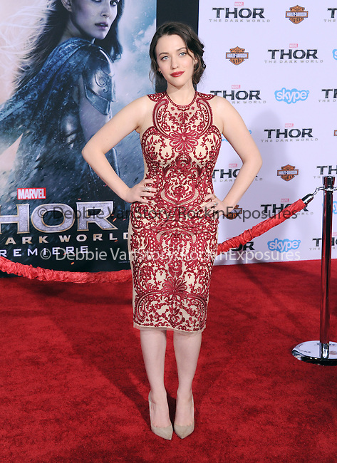 Hollywood, CA - NOVEMBER 04: Kat Dennings  arrives to Marvel's  THOR: THE DARK WORLD Premiere held at El Capitan Theatre in Hollywood, California on November 04,2012                                                                               © 2013 Hollywood Press Agency