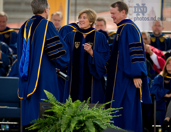 May 22, 2011; Mary Beth O'Brien receives an honorary degree at the 2011 Commencement ceremony...Photo by Matt Cashore/University of Notre Dame