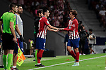 Atletico de Madrid's Nikola Kalinic (L) and Antoine Griezmann (R) during La Liga match between Atletico de Madrid and SD Huesca at Wanda Metropolitano Stadium in Madrid, Spain. September 25, 2018. (ALTERPHOTOS/A. Perez Meca)