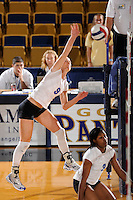20 November 2008:  Middle Tennessee outside hitter Izabela Kozon (9) attempts a kill shot during the Middle Tennessee 3-0 victory over Arkansas State in the first round of the Sun Belt Conference Championship tournament at FIU Stadium in Miami, Florida.