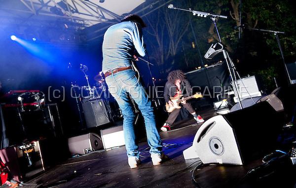 Concert of the Belgian electro band Magnus at the Rivierenhof in Antwerp (Belgium, 21/08/2014)