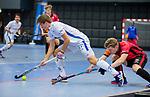 ROTTERDAM  - NK Zaalhockey,   wedstrijd om brons.  heren Oranje Rood- Kampong. OR wint.  Teun Kropholler (Kampong)       COPYRIGHT KOEN SUYK