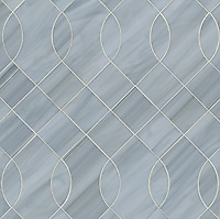 Vivian, a jewel glass water jet mosaic, shown in Pearl, is part of the Ann Sacks Beau Monde collection sold exclusively at www.annsacks.com