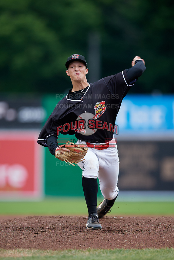 Batavia Muckdogs starting pitcher Dakota Bennett (44) delivers a pitch during a game against the Williamsport Crosscutters on June 22, 2018 at Dwyer Stadium in Batavia, New York.  Williamsport defeated Batavia 9-7.  (Mike Janes/Four Seam Images)