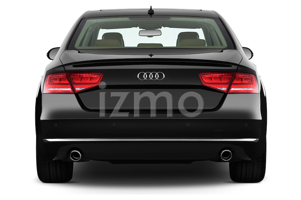 Straight rear view of a 2013 Audi A8 L W12 4 Door Sedan 4WD