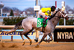 OZONE PARK, NEW YORK: MAR 10: *,5 Skyler's Scramjet ridden by Trevor McCarthy, wins the Tom Fool Handicap at Aqueduct  Racetrack, on March 10, 2018 in Ozone Park, New York. ( Photo by Heary /Eclipse Sportswire/Getty Images)