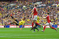 Kemar Roofe of Oxford United tries an overhead kick during the Johnstone's Paint Trophy Final match between Oxford United and Barnsley at Wembley Stadium, London, England on 3 April 2016. Photo by Alan  Stanford / PRiME Media Images.