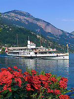 Switzerland, Canton Lucerne, Weggis: paddle steamer URI