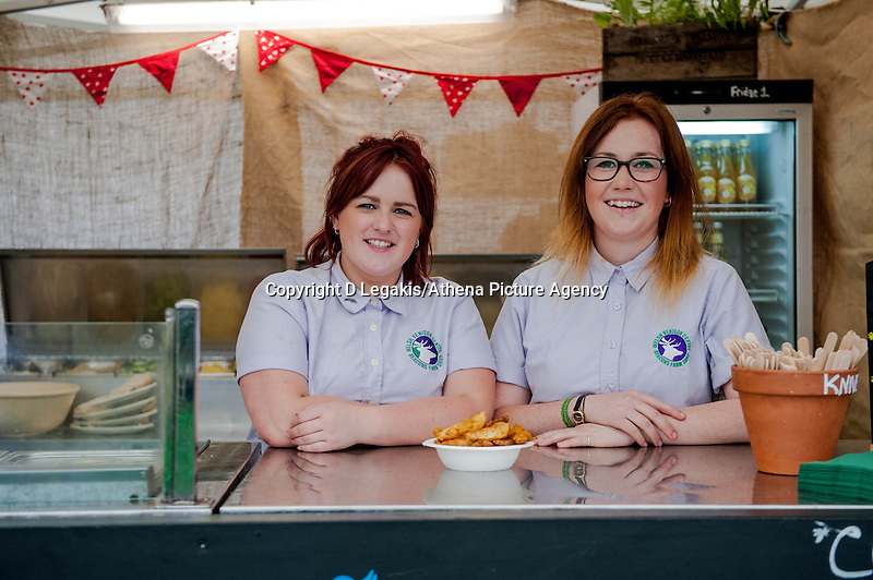 Thursday  29 May 2014, Hay on Wye, UK<br /> Pictured: Megan fand Lauren rom the Welsh Venison Centre<br /> Re: Food at the The Hay Festival, Hay on Wye, Powys, Wales UK.
