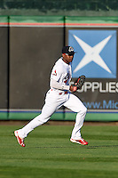 Peoria Chiefs center fielder Magneuris Sierra (34) fields a ground ball base hit during a game against the Dayton Dragons on May 6, 2016 at Dozer Park in Peoria, Illinois.  Peoria defeated Dayton 5-0.  (Mike Janes/Four Seam Images)