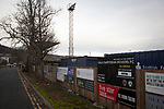An exterior view of the stadium before Gala Fairydean Rovers host Gretna 2008 in a Scottish Lowland League match at Netherdale, Galashiels. The home club were established in 2013 through a merger of Gala Fairydean, one of Scotland's most successful non-League clubs, and local amateur club Gala Rovers. The visitors were a 'phoenix' club set up in the wake of the collapse of the original club, which had competed for a short time in the 2000s before going bankrupt. The home aside won this encounter 4-1 watched by a crowd of 120 at a stadium which features one of the country's most notable stands, a listed building constructed in 1964 but at the time of this fixture closed to spectators on safety grounds.