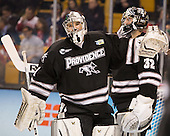 Brendan Leahy (PC - 1), Jon Gillies (PC - 32) - The Providence College Friars defeated the Boston University Terriers 4-3 to win the national championship in the Frozen Four final at TD Garden on Saturday, April 11, 2015, in Boston, Massachusetts.
