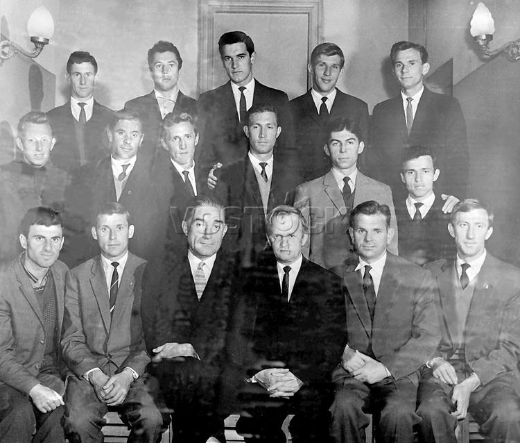 Members of the Soviet National Football team to play in the 1962 World Cup Finals in Chile.<br /> Bottom Row Left to Right: Slava Metreveli, Anatoli Maslyonkin, Andrei Starostin (team manager), Gavriil Kachalin (senior trainer), Nikolai Gulyaev (trainer), and Igor Netto.<br /> Middle Row Left to Right:Alexei Mamykin, Lev Yashin, Albert Shesternev, Nikolai Manoshin, Vyacheslav Ambartsumyan, and Gamilzyan Khusayinov.<br /> Top Row Left to Right: Igor Cheslenko, Gennadi Gusarov, Valeri Voronin, Leonid Ostrovsky and Valentin Ivanov.<br /> 29th December 1961.