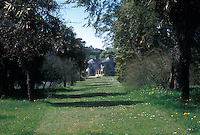 Mount Usher Gardens, County Wicklow, Ireland, in May, wide view of mowed path between trees, leading to Manor House