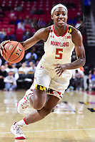 College Park, MD - NOV 13, 2017: Maryland Terrapins guard Kaila Charles (5) in action during game between No. 4 ranked South Carolina and the No. 15 Maryland Terrapins at the XFINITY Center in College Park, MD. The Gamecocks defeated Maryland 94-86.  (Photo by Phil Peters/Media Images International)