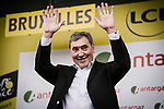 Eddy Merckx on the podium for the prize giving at the end of Stage 1 of the 2019 Tour de France running 194.5km from Brussels to Brussels, Belgium. 6th July 2019.<br /> Picture: ASO/Pauline Ballet | Cyclefile<br /> All photos usage must carry mandatory copyright credit (© Cyclefile | ASO/Pauline Ballet)