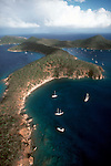 Aerial of British Virgin Islands, Norman Island, considered the island in Robert Louis Stevenson's novel Treasure Island