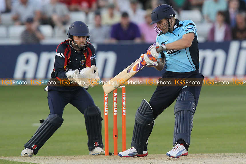 Luke Wright in batting action for Sussex as James Foster looks on - Essex Eagles vs Sussex Sharks - Friends Life T20 Cricket at the Ford County Ground, Chelmsford, Essex - 28/06/12 - MANDATORY CREDIT: Gavin Ellis/TGSPHOTO - Self billing applies where appropriate - 0845 094 6026 - contact@tgsphoto.co.uk - NO UNPAID USE.