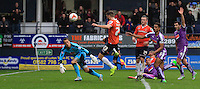 Josh McQuoid of Luton Town scores the equaliser during the  Luton Town and Plymouth Argyle at Kenilworth Road, Luton, England on 24 October 2015. Photo by Liam Smith.
