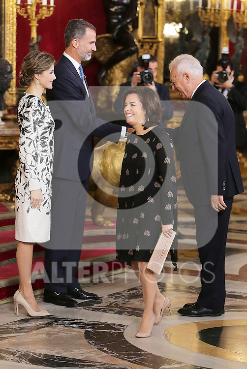 King Felipe VI of Spain (2l) and Queen Letizia of Spain (l), Soraya Saenz de Santamaria Vice-Minister of the Presidency and government spokesman and Jose Manuel Garcia-Margallo Minister of Foreign Affairs and Cooperation of Spain (r) the National Day acts. October 12 ,2016. (ALTERPHOTOS/Pool)