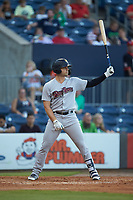 Ryan McBroom (6) of the Scranton/Wilkes-Barre RailRiders at bat against the Gwinnett Stripers at Coolray Field on August 16, 2019 in Lawrenceville, Georgia. The Stripers defeated the RailRiders 5-2. (Brian Westerholt/Four Seam Images)