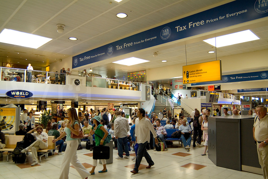 Modern airport duty free shops, Gatwick Airport, London, England