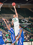 North Texas Mean Green forward Tony Mitchell (13) and New Orleans Privateers forward Antonio Wertz (10) in action during the game between the New Orleans Privateers and the University of North Texas Mean Green at the North Texas Coliseum,the Super Pit, in Denton, Texas. UNT defeated UNO 78 to 47.....