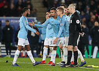 Manchester City 's Raheem Sterling is consoled by his team mates after missing a penalty<br /> <br /> Photographer Andrew Kearns/CameraSport<br /> <br /> English League Cup - Carabao Cup Quarter Final - Leicester City v Manchester City - Tuesday 18th December 2018 - King Power Stadium - Leicester<br />  <br /> World Copyright © 2018 CameraSport. All rights reserved. 43 Linden Ave. Countesthorpe. Leicester. England. LE8 5PG - Tel: +44 (0) 116 277 4147 - admin@camerasport.com - www.camerasport.com