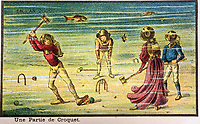 BNPS.co.uk (01202 558833)<br /> Pic:  Hansons/BNPS<br /> <br /> Anyone for croquet under the sea?....<br /> <br /> A remarkable set of drawings which were produced in 1899 to predict the future have come to light - and some of the ideas are plain wacky.<br /> <br /> Their outlandish vision of the world in 2000 includes flying cars, whales pulling coaches and games of croquet under the sea.<br /> <br /> The illustrations were produced by a group of French artists for a Paris exhibition entitled 'En L'An 2000'. (In the year 2000)<br /> <br /> They did not foresee a man on the moon or the first computer, but predicted people would be playing tennis with bat wings.