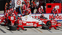 Tony Kanaan pit stop, Milwaukee Indy Fest 250, Milwaukee Mile Speedway, Milwaukee, WI, August 2014.  (Photo by Brian Cleary/www.bcpix.com)