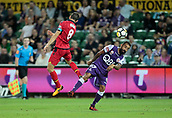 November 4th 2017, nib Stadium, Perth, Australia; A-League football, Perth Glory versus Adelaide United; Isaias captain of Adelaide United out jumps Diego Castro for the header