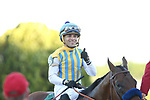 May 2, 2020: Jockey Joel Rosario celebrating aboard Nadal after winning the 2nd division of the Arkansas Derby at Oaklawn Racing Casino Resort in Hot Springs, Arkansas on May 2, 2020. Justin Manning/Eclipse Sportswire/CSM