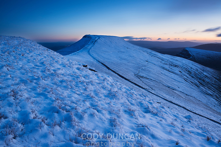 Winter view from Corn Du towards Pen Y Fan, Brecon Beacons national park, Wales