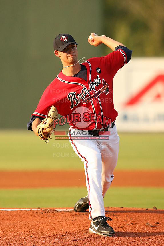 August 24, 2009:  Starting Pitcher Mike Minor of the Rome Braves delivers a pitch during a game at State Mutual Stadium in Rome, GA.  Rome is the South Atlantic League Low-A affiliate of the Atlanta Braves.  Photo By David Stoner/Four Seam Images