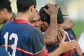 S. Te Tamaki gets congratulated by S. Petelo & M. Lawson after scoring Ardmore Marist's 4th try. Counties Manukau Premier Club Rugby, Pukekohe v Ardmore Marist played at the Colin Lawrie field, on the 27th of May 2006.Ardmore Marist won 22 - 6