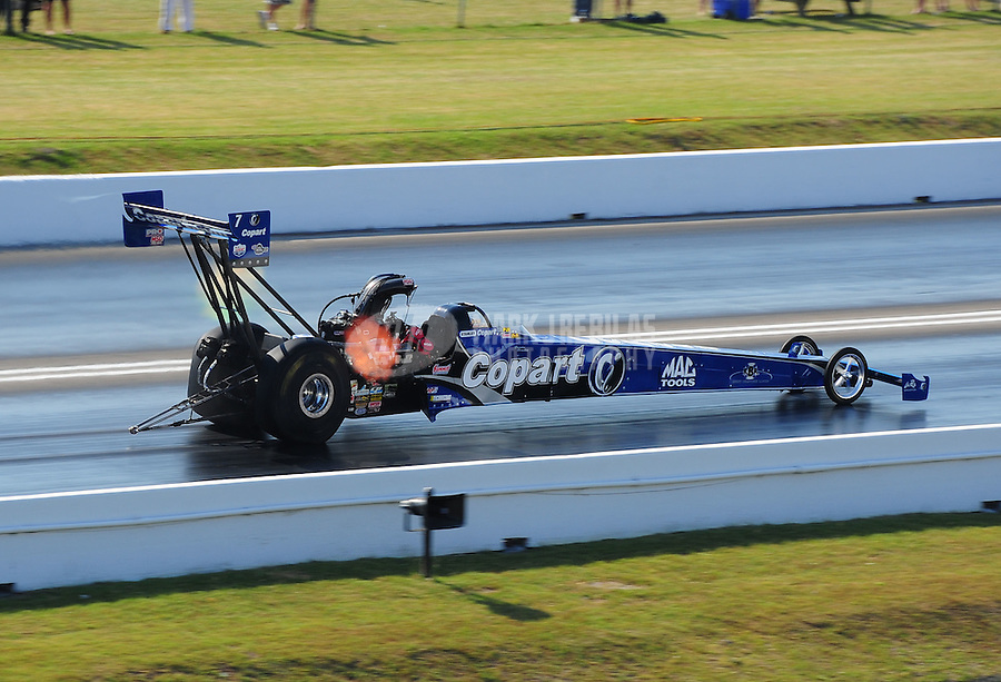 Apr. 29, 2011; Baytown, TX, USA: NHRA top fuel dragster driver Brandon Bernstein during qualifying for the Spring Nationals at Royal Purple Raceway. Mandatory Credit: Mark J. Rebilas-