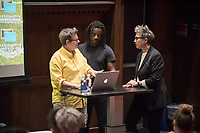 Mary Beth Heffernan, Professor, Art and Art History.<br /> Linda Besemer, James Irvine Distinguished Professor, Art and Art History.<br /> Wanlass Distinguished Visiting Artist Willie Cole lecture, October 20, 2016 in Choi Auditorium. Willie Cole's work has been the subject of several one-person museum exhibitions: Montclair Art Museum (2006), University of Wyoming Art Museum (2006), the Tampa Museum of Art (2004), Miami Art Museum (2001), Bronx Museum of the Arts (2001) and the Museum of Modern Art, New York (1998). The Distinguished Visiting Artist residency is generously funded by the Kathryn Caine Wanlass Charitable Foundation<br /> (Photo by Marc Campos, Occidental College Photographer)