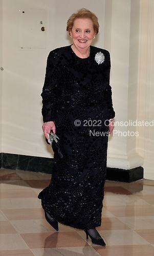 Former United States Secretary of State Madeleine Albright arrives for the State Dinner in honor of President Hu Jintao of China at the White House In Washington, D.C. on Wednesday, January 19, 2011. .Credit: Ron Sachs / CNP.(RESTRICTION: NO New York or New Jersey Newspapers or newspapers within a 75 mile radius of New York City)