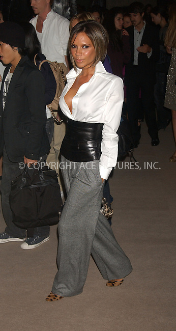 WWW.ACEPIXS.COM . . . . . ....NEW YORK, SEPTEMBER 11, 2006....Victoria Beckham at the Marc Jacobs Spring 2007 Fashion Show.....Please byline: KRISTIN CALLAHAN - ACEPIXS.COM.. . . . . . ..Ace Pictures, Inc:  ..(212) 243-8787 or (646) 679 0430..e-mail: picturedesk@acepixs.com..web: http://www.acepixs.com