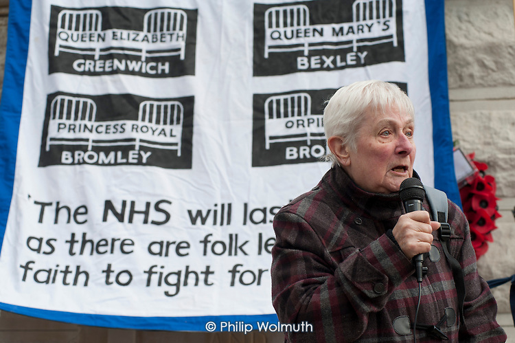 Doris Smith, Lewisham Pensioners Forum.  Health workers, patients, local residents and trade unions take part in a Save Lewisham Hospital Campaign rally outside the hospital to protest at proposed closure of A&E and maternity services.