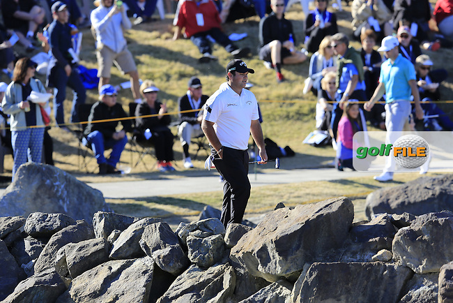 Patrick Reed (USA) walks to the 17th island green during Saturday's Round 3 of the 2017 CareerBuilder Challenge held at PGA West, La Quinta, Palm Springs, California, USA.<br /> 21st January 2017.<br /> Picture: Eoin Clarke | Golffile<br /> <br /> <br /> All photos usage must carry mandatory copyright credit (&copy; Golffile | Eoin Clarke)