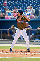 Biloxi Shuckers starting pitcher Kodi Medeiros (16) at bat during a game against the Jacksonville Jumbo Shrimp on May 6, 2018 at MGM Park in Biloxi, Mississippi.  Biloxi defeated Jacksonville 6-5.  (Mike Janes/Four Seam Images)