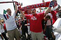 United States Men's National team fans cheer outside Azteca stadium before the game. The United States Men's National Team played Mexico in a CONCACAF World Cup Qualifier match at Azteca Stadium in, Mexico City, Mexico on Wednesday, August 12, 2009.