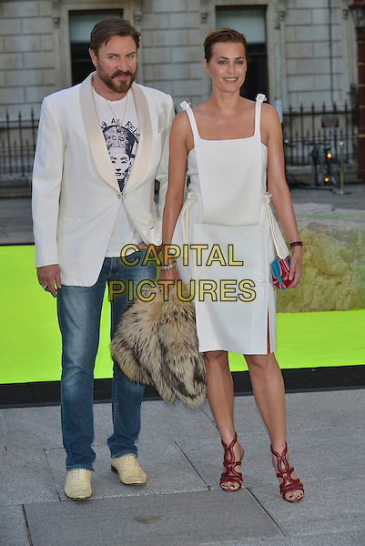 Simon Le Bon &amp; Yasmin Le Bon<br /> Royal Academy Summer Exhibition Preview Party 2013, London, England 5th June 2013<br /> full length white suit jacket jeans denim beard facial hair dress red sandals shoes married husband wife <br /> CAP/PL<br /> &copy;Phil Loftus/Capital Pictures