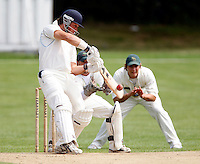 B Buckley hits out for Hampstead during the Middlesex County Cricket League Division One game between Hampstead and Finchley played at Lymington Road, Hampstead on Sat Aug 16, 2008