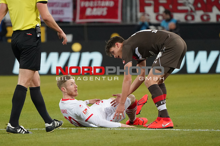 08.02.2019, RheinEnergieStadion, Koeln, GER, 2. FBL, 1.FC Koeln vs. FC St. Pauli,<br />  <br /> DFL regulations prohibit any use of photographs as image sequences and/or quasi-video<br /> <br /> im Bild / picture shows: <br /> Florian Kainz (FC Koeln #30),  verletzt am Boden <br /> <br /> Foto © nordphoto / Meuter