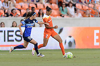 Houston, TX - Sunday June 19, 2016: Erika Tymrak, Poliana during a regular season National Women's Soccer League (NWSL) match between the Houston Dash and FC Kansas City at BBVA Compass Stadium.