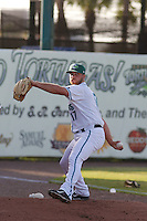 Daytona Tortugas pitcher Barrett Astin (17) warming up in the bullpen before a game against the Tampa Yankees at Radiology Associates Field at Jackie Robinson Ballpark on June 13, 2015 in Daytona, Florida. Tampa defeated Daytona 8-6. (Robert Gurganus/Four Seam Images)